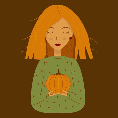 A girl with red hair holds a pumpkin. Happy Halloween. Cute witch. Concept holiday illustration Illusztráció