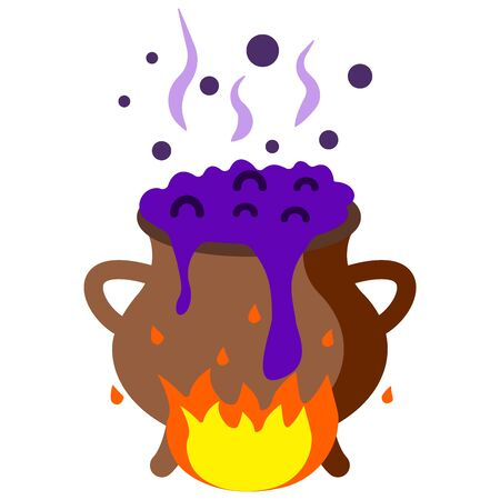 The witchs potion is cooked on fire, boils. Illustration happy halloween concept Ilustração