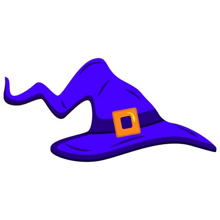 The witchs hat is curved, illustration to Halloween. Costume concept