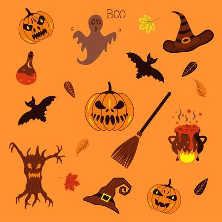 A set of stickers for Halloween. Pumpkin, hat, broom, potion, bats, ghost. Scary Collection. Autumn Halloween Party Holiday. Tricks and Treats. Illusztráció