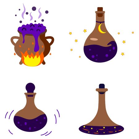 Set of magic potion in a bottle, witchcraft. Halloween. Game icon of magic elixir. Design for app user interface