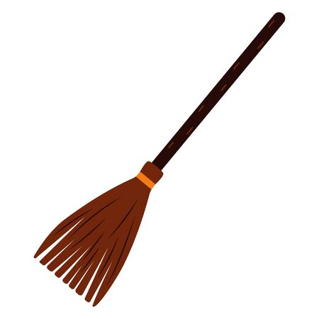 Witch Broom. Illustration of isolated cartoon on white background. Cleaning and moving equipment