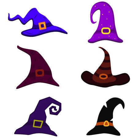 Set the witchs hat is curved, illustration to Halloween. Costume concept Illusztráció