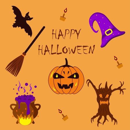 A set of stickers, a witchs hat, a broom, a potion, a pumpkin, a bat, a candles, a monster tree. Halloween illustration