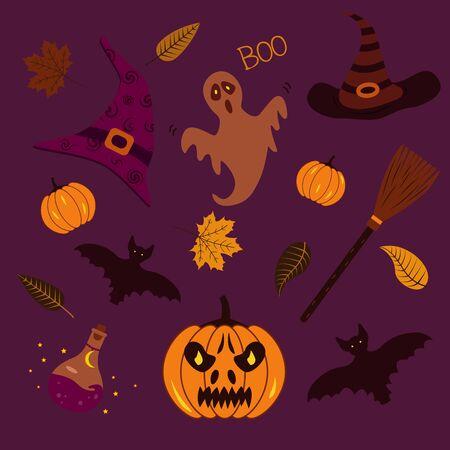 A set of stickers, a witchs hat, a broom, a potion, a pumpkin, a bat, autumn leaves, a ghost. Halloween illustration Illusztráció