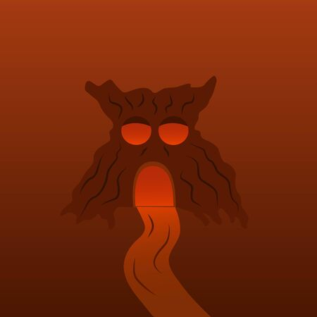 Tree monster with luminous eyes and a cave, road. Halloween illustration