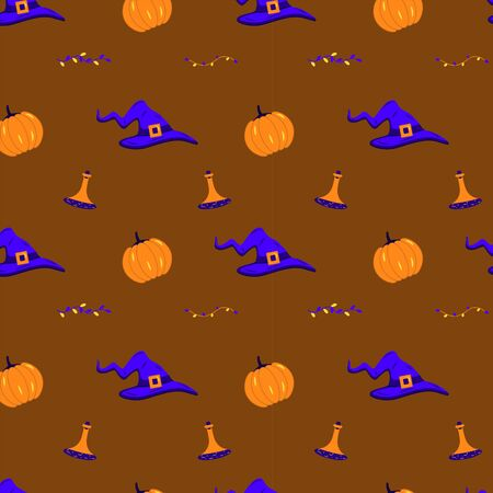 A seamless pattern with witch hats, pumpkins, potion and autumn branches. Halloween illustration on a brown background
