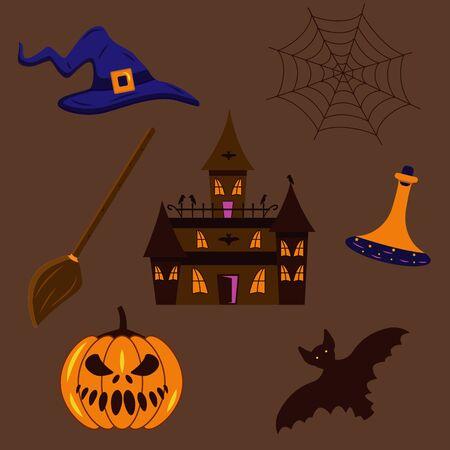 A set of stickers, a gloomy castle, a witchs hat, a broom, a potion, a spiders web, a pumpkin, a bat. Halloween illustration Illusztráció