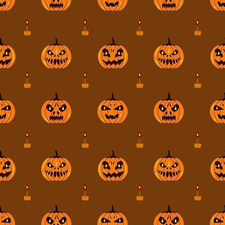 A seamless pattern with pumpkins and candles. Halloween illustration on brown background 일러스트