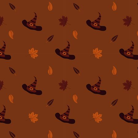 A seamless pattern with witch hats and autumn leaves. Halloween illustration on brown background