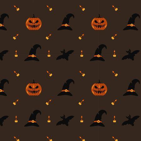 A seamless pattern with witch hats, pumpkins, bats and candles. Halloween illustration on a gray background Illusztráció