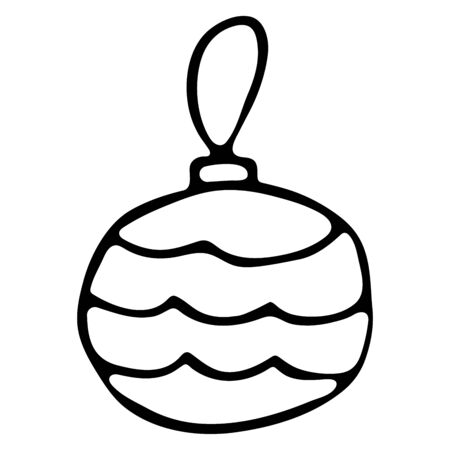 New Years Tree Toy Balloon Black and White Doodle Style. Christmas glass toy ball on a rope Çizim