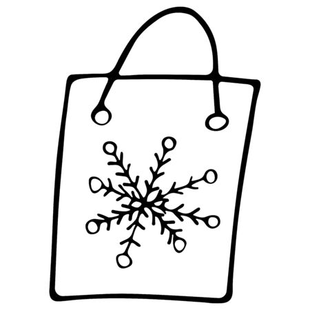 Gift package with snowflake black and white doodle style. Bags for shopping. Hand drawn illustration