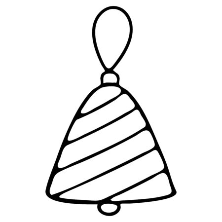 New Years Tree Toy Bell Black and White Doodle Style. Christmas glass toy ball on a rope Çizim