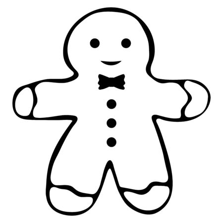 Ginger man black and white cookie doodle style. Christmas cookies Gingerbread man. Hand drawn