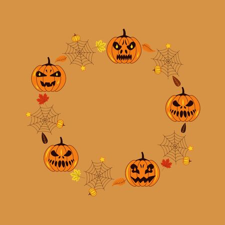 A pumpkins with different facial expressions, luminous eyes, bats, spider web and autumn leaves. Happy Halloween. Holiday illustration Иллюстрация