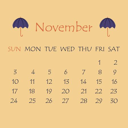 Calendar for November 2019. Beige background with a decor in the form of a blue umbrella 向量圖像