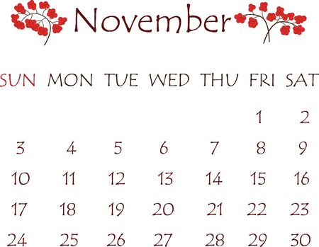 Calendar for November 2019. White background with a decor in the form of a rowan berries Illusztráció