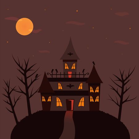 Castle of monsters. Black crows, bats. Happy Halloween Illustration. Light in the window, full moon, trees Иллюстрация