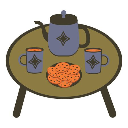 A table with cups of tea or coffee, a kettle and a plate of oatmeal cookies. Food Illustration on white background cartoon Ilustração
