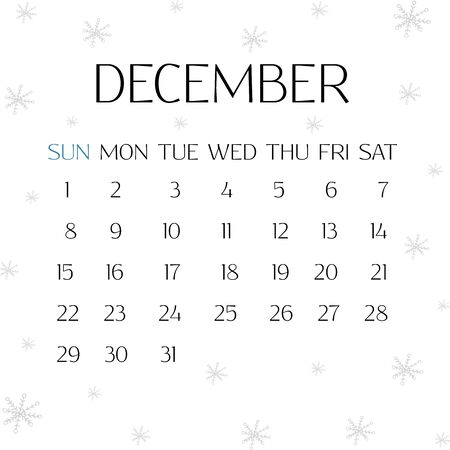 Calendar for December 2019. White background with snowflakes. Winter illustration