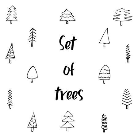 Christmas tree set. Different shapes. Isolated on white background. Doodle style illustration Ilustracja