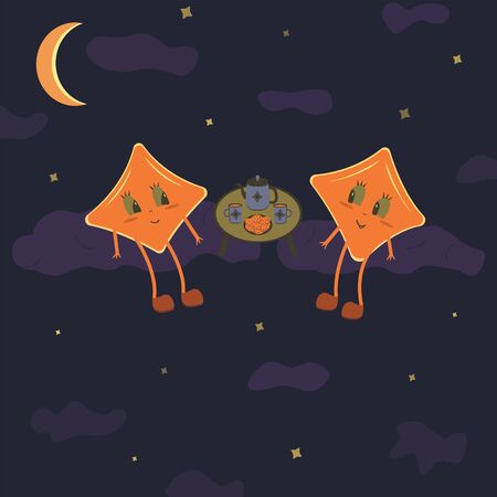 Two stars in the night sky sit on the clouds and drink tea. Book illustration, childrens concept, friendship