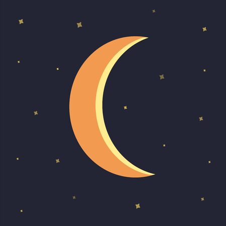 Night sky with stars and moon blue background. Colorful illustration