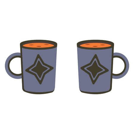 Two blue mugs of tea or coffee with a star-shaped pattern. Stylish illustration of dishes