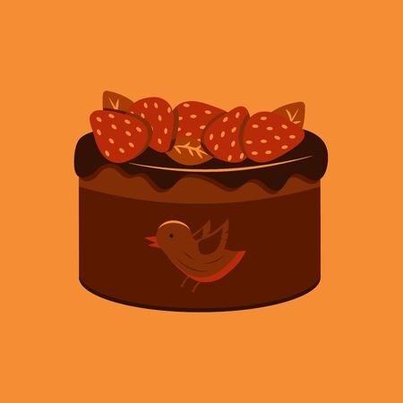 Cake birds milk with strawberries and chocolate. Illustration of a delicious dessert for the holiday