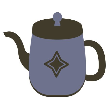 Blue stylish kettle with star-shaped decor. Vintage illustration sticker