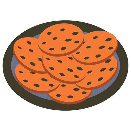 Oatmeal biscuits on a blue plate. Colorful illustration on a white background. Healthy snack Illustration