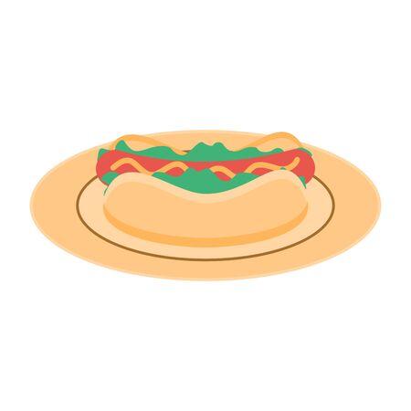Hot dog on a plate. Fast food menu. Concept illustration