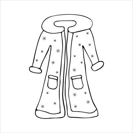 Santa Claus clothes, doodle-style fur coats. Black and white illustration