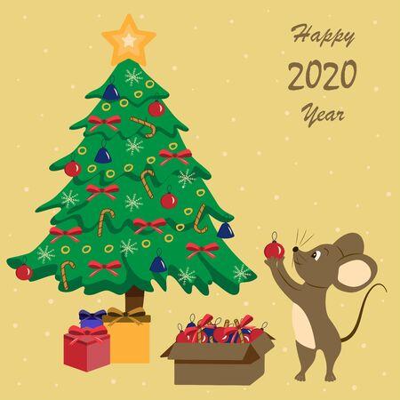 Mouse with Christmas toys near the Christmas tree. Cartoon cute illustration. Holiday postcard