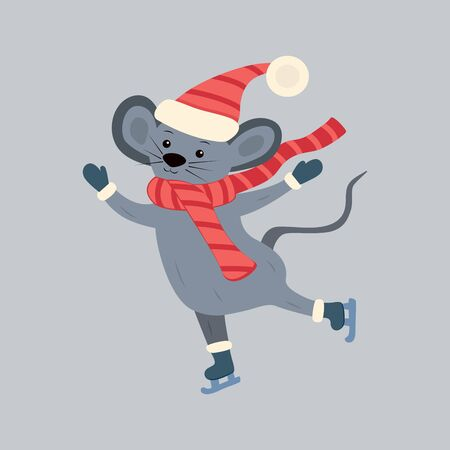 Mouse skates in winter in a hat and scarf. Happy New Year and Christmas. Winter fun. Holiday illustration