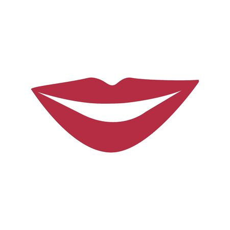 Womens smile, lips on a white background. Colorful icon illustration sticker, badge