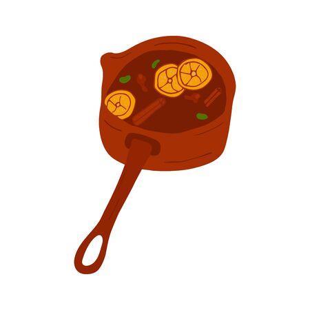 Mulled wine in doodle style, hot drink in winter, poster for cafe, menu. Spice cardamom, cinnamon stick, nutmeg, anise star, honey, ginger, orange. Warming drink. Colorful illustration 向量圖像
