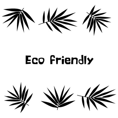 Set A branches with bamboo leaves black and white illustration with an inscription eco friendly. Sketch. Tropical plant of Asian countries, China, Japan, Korea. Icon