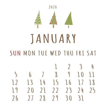 January 2020 Calendar. The first month of the new year, winter time. For personal use and for the office. Scheduler. Christmas tree and snow decor 일러스트