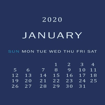 January 2020 Calendar. The first month of the new year, winter time. For personal use and for the office. Scheduler. Illustration on a blue background