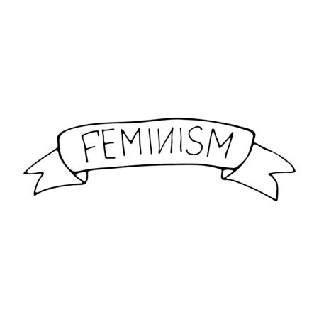 Ribbon with the inscription feminism. The fight for the right to equality. Protest illustration concept Illustration