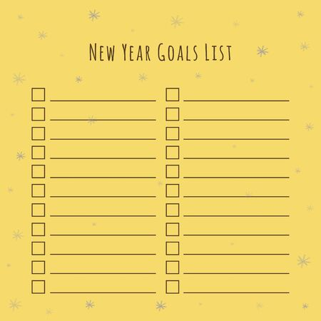 List of New Years Goals. The illustration on a beige background with a decor in the form of snowflakes. Blank Paper - Planner for Personal and General Use