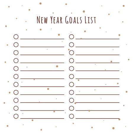 List of New Years Goals. The illustration on a white background with a decor in the form of circles of snowflakes. Blank Paper - Planner for Personal and General Use
