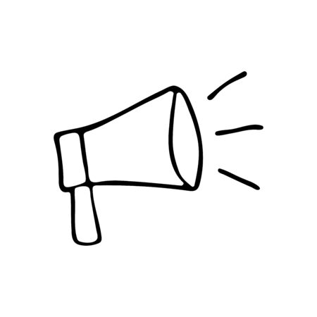 Loudspeaker mouthpiece icon in the style of doodle black and white concept illustration outline sketch