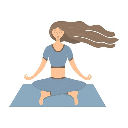 Girl with long hair meditating on the blue mat. Vector illustration. Relaxation, focus on yourself and your thoughts and body Archivio Fotografico - 136970859