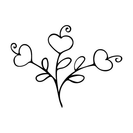 Flowers with hearts. Black and white doodle style illustration. Declaration of love. Valentines Day Gift