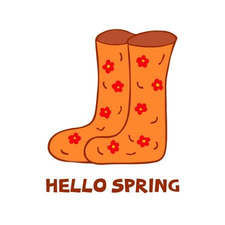 Cute Boots for rainy weather. Colorful illustration. Womens shoes for spring, summer or autumn with floral print. Inscription Hello Spring. Orange color