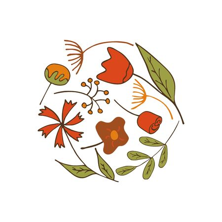 Spring and summer flowers and twigs in the shape of a circle on a white background. Tulip, Dandelion, Cotton, Rose, knapweed. Colorful illustration Ilustração