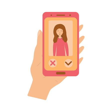 Phone in hand with the image of a girl on the screen and selection buttons. Application for dating. Online dating app - modern colorful thematic illustration on white background Illustration